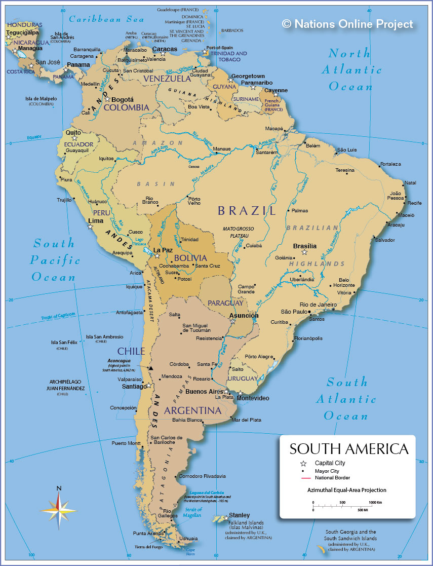 SOUTH AMERICA MAP, MOBILE VIEW WITH APPLCATION